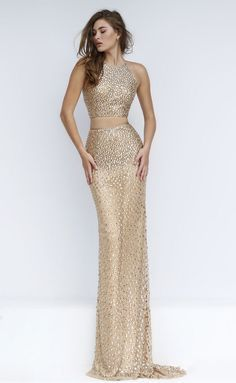brilliant beaded crew neck sheath long two piece gold prom dress