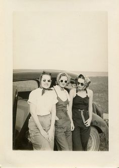 Three Women in summer attire and sunglasses during the 1940s to 1950s