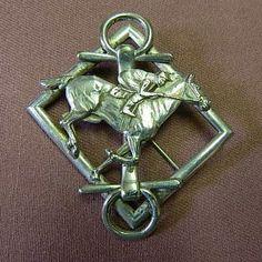 Huge sterling silver racing horse, jockey, snaffle bit pin brooch