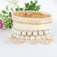 Fashion Pierced Pearl Multilayer White Bracelet for Women