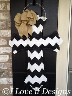 Chevron+Cross+Burlap+Door+Hanger+by+ILoveItDesigns+on+Etsy,+$35.00