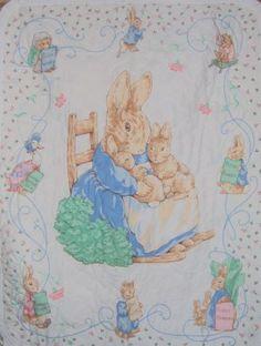 Vintage Beatrix Potter Mrs. Rabbit Quilt Top Fabric Panel