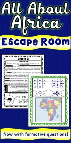 The Africa Escape Room will take students on a secret mission around the classroom! This escape room has students decode interesting facts about the continent of Africa.