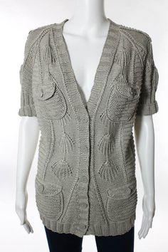 Oscar de La Renta Gray Linen Silk Knit Short Sleeve Cardigan Sz M $1750   eBay