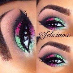 Cute eye make Up Makeup Eye Looks, Beautiful Eye Makeup, Eye Makeup Art, Colorful Eye Makeup, Love Makeup, Eyeshadow Makeup, Beauty Makeup, Eyeshadows, Neon Eyeshadow