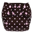 Swaddlebees Cloth Diaper Print - Pink On Chocolate