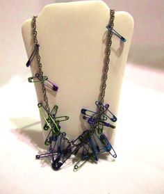 Goth Grunge Industrial Blue Purple & Green Safety Pins Necklace by SoBayBaubles, $10.00