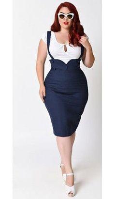 Collectif Plus Size 1950s Navy Agarva Linen Pencil Suspender Skirt