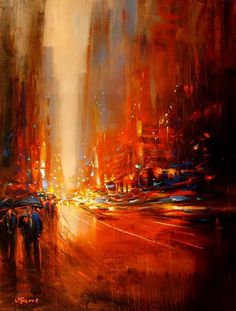 fiery orange city landscape in fast motion. Cool Abstract painting. MagaMagazine