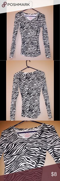 Women's Zebra Print Long Sleeve Long John Tee Zebra print long sleeve long john tee is made with 92% cotton & 8% spandex and is very cute and comfortable and looks great with black cardigan. No Boundaries Tops Tees - Long Sleeve