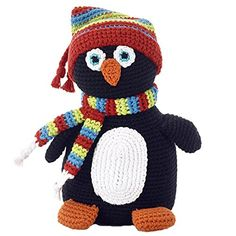Pebble Penguin Rattle. Handmade - Crochet. Fair Trade. 100% Cotton Outer. Machine Washable.