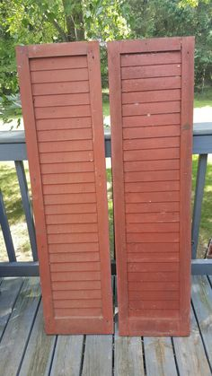 Vintage Set of Two Wood Louvered Shutters, Antique, House, Salvaged Shutters, Barn Red, Wooden, Home Decor, Cabin Decor, Building Supply