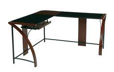 OSP Designs Emette Home Office Corner Desk With L-Shape Workstation Design & Glass Top, Brown