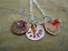 Hand Stamped Mothers Necklace Trio Customized by RusticJewels, $26.00