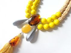 Yellow necklace, tassel chunky necklace modern tribal statement