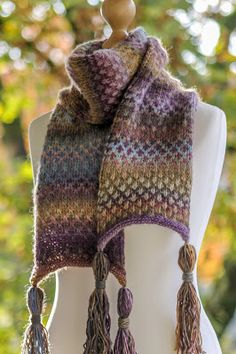 Swiss Check Scarf: made with roughly 480 yards of variegated worsted weight yarn and size US 8 needles