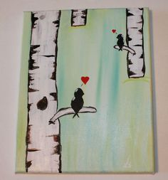 Lovebirds by aCoupleofBrushes on Etsy https://www.etsy.com/listing/243273570/lovebirds
