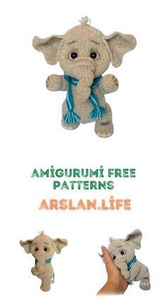 Cute Elephant, Free Crochet, Free Pattern, Crochet Patterns, Teddy Bear, Animals, Life, Amigurumi, Animales