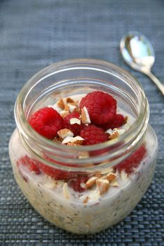 Make the perfect breakfast even better by adding beans to your overnight oats. Yes! Mashed white beans offer protein and fiber, so this bowl of raspberry vanilla almond overnight oats offers almost 17 grams of protein and over 14 grams of fiber. Plus, it's only 370 calories and under nine grams of sugar.