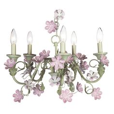 Chandelier - 5-arm - Leaf & Flower - Pink & Green | Jack and Jill Boutique