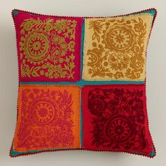 Multicolor Four Patch Throw Pillow >> #WorldMarket Family & Living Room Decor, Home Decor, Tips