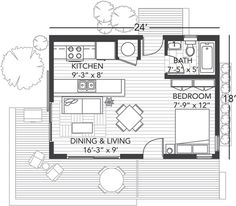 """here is the floor plan for the """"origin 24"""" house from bluhomes"""