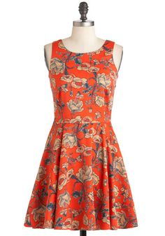 Rose to the Sun Dress by Mink Pink - Short, Orange, Blue, White, Floral, Party, A-line, Sleeveless, Fit & Flare, Coral