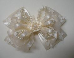 Items similar to IVORY or White Satin Hair Bow Big Large Elegant Wedding Flower Girl Pageant Big Boutique Dressy Fancy Special Occassion on Etsy Red Hair Bow, Girl Hair Bows, Ribbon Hair, Fabric Ribbon, Girls Bows, Ribbon Bows, Fabric Flowers, Ribbons, Ribbon Crafts