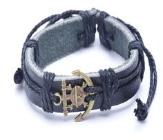 Punk Alloy Anchor Rope Wrist Band Weave Drawstring Rope Leather Cuff Bracelet -- Awesome products selected by Anna Churchill