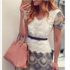 Women's dress w lace and belt Really cute women's dress w lace around top - zipper and belt- brand new never worn Dresses Mini