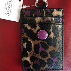 Coach leopard print credit card / ID lanyard Coach leopard print credit card / ID lanyard. NWT. No returns Coach Bags Wallets