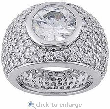 Formaggio Bezel Set Round Cubic Zirconia Pave Encrusted Ring By Ziamond. #ziamond #cubiczirconia #bezel #round #pave #ring King Ring, Pave Ring, Cubic Zirconia Rings, 3 Carat, 18k Gold, White Gold, Engagement Rings, Diamond, Jewelry