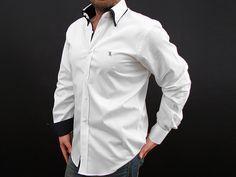 Billionaire Couture Men's Dress Shirt White & Navy