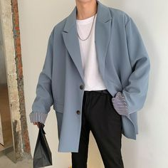 Korean Outfits, Mode Outfits, Retro Outfits, Fashion Outfits, Stylish Mens Outfits, Casual Outfits, Casual Suit, Korean Fashion Men, Korean Men