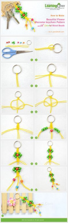 How to Make Beautiful Flower Macrame keychain Pattern with Colorful Wood Beads