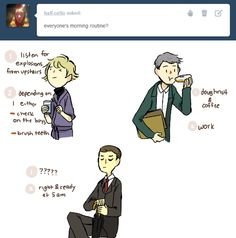 No one really knows what Mycroft does. <<<<<<<<~ He eats cake, and goes late-night umbrella shopping. What else would he do?