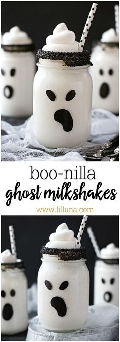 Boo-nilla Ghost Milkshakes - delicious vanilla treats turned into adorable ghosts that are perfect for Halloween!