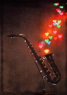 Saxophone love. Music, hearts