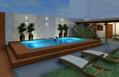modern Pool by Konverto Interiors + Architecture Modern Pools, House Design, House, Backyard Decor, Patio Design, House Rooms, Beach House Room, Swimming Pools, Home Design Plans