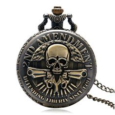 2ND AMENDMENT Steampunk  Pocket Watch Men Vintage Pendant Watch