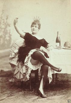 """Louise Weber best known as La Goulue Clichy-la-Garenne (2nd French Empire) July 12 1866 Paris (France) January 29 1929 French can-can dancer who performed under the stage name of La Goulue.  Became synonymous with the """"Cancan"""" and the Moulin Rouge nightclub. The toast of Paris and the highest paid entertainer of her day, she became one of the favorite subjects for Henri de Toulouse-Lautrec, immortalized by his portraits and posters of her dancing at the Moulin Rouge."""