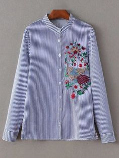 SHARE & Get it FREE | Striped Peacock Embroidered ShirtFor Fashion Lovers only:80,000+ Items • New Arrivals Daily Join Zaful: Get YOUR $50 NOW!