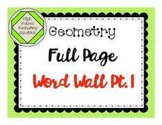68 best my teachers pay teachers store images on pinterest teacher geometry full page word wall part 1 fandeluxe Choice Image