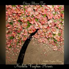 Original  abstract Oil contemporary Deep gallery canvas palette knife floral impasto  Pink Cherry painting by Nicolette Vaughan Horner 24x24 on Etsy, $199.99