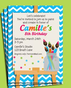 Printable painting art party birthday invitation rainbow kids painting art party birthday invitation printable or printed with free shipping paint my party collection stopboris Choice Image