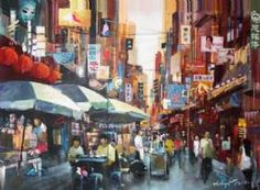 Kunstsamlingen | Artist: Holger Poulsen | Title: Chinatownshopping | Height: 100cm,  Width: 130cm | Find it at kunstsamlingen.com #kunstsamlingen #kunst #artcollection #art #painting #maleri #galleri #gallery #onlinegallery #onlinegalleri #kunstner #artist #danishartists #holgerpoulsen #galleriexpo