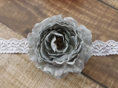 Gray Ranunculus Flower Lace Headband or Clip by SouthernStitchesCo