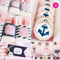 Girl Nautical Party d Navy Birthday, Girls Birthday Party Themes, Little Girl Birthday, Sailor Birthday, Birthday Ideas, Teen Birthday, Birthday Cake, Nautical Bridal Showers, Nautical Party