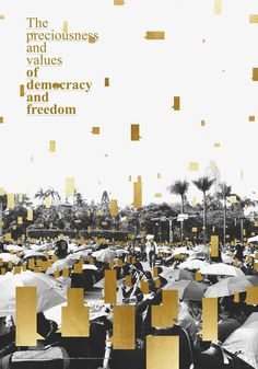 The preciousness and valutas of democracy and freedom poster by mu chang wu Graphic Design Posters, Graphic Design Typography, Graphic Design Inspiration, Poster Designs, Book Design, Layout Design, Design Art, Award Poster, Poster Layout
