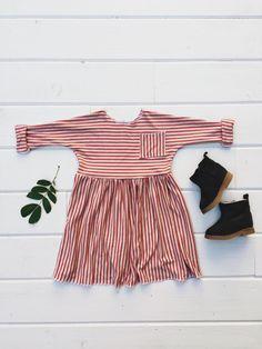 Image of NASH DRESS OATMEAL/RED STRIPE